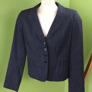 Halogen peplum black and grey pinchecked blazer